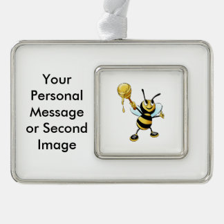 Smiling Cartoon Honey Bee Holding up Dipper Silver Plated Framed Ornament