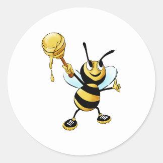 Smiling Cartoon Honey Bee Holding up Dipper Sticker
