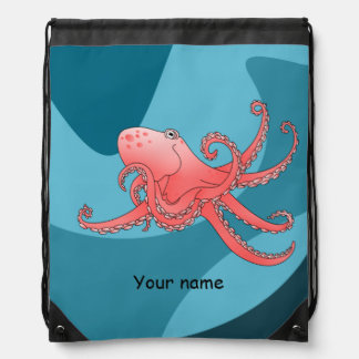 Smiling cartoon octopus in blue ocean drawstring bags