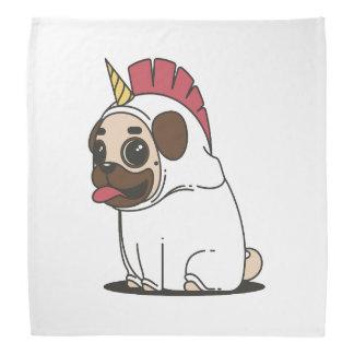 Smiling Cartoon Pug in a Unicorn Costume Bandana