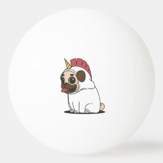 Smiling Cartoon Pug in a Unicorn Costume Ping Pong Ball
