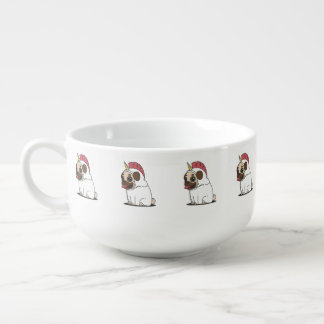 Smiling Cartoon Pug in a Unicorn Costume Soup Mug