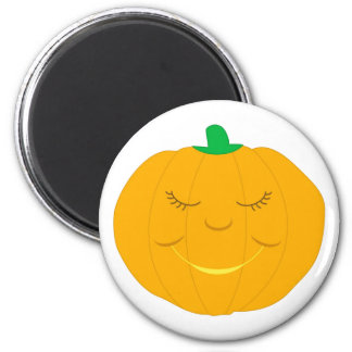 Smiling cartoon pumpkin 6 cm round magnet