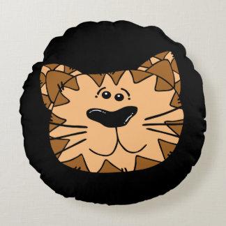 Smiling Cartoon Wild Cat Round Cushion