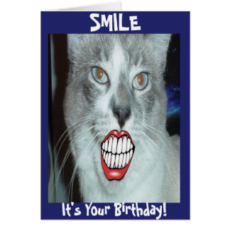 Smiling Cat Birthday Note Card