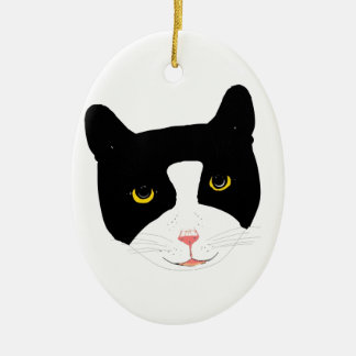 Smiling Cat Face Ceramic Ornament