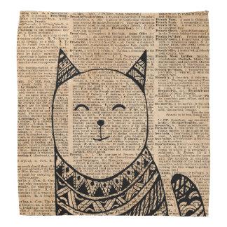 Smiling Cat Pen & Ink Zentagle Dictionary Art Bandana