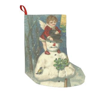 Smiling Cherub Snowman Shamrock Songbird Small Christmas Stocking