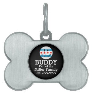 Smiling Chicago Flag Pet ID Tag