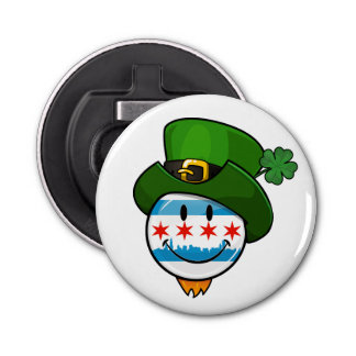 Smiling Chicago Flag with St. Patrick's Day Hat Bottle Opener