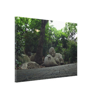 Smiling child statue gallery wrapped canvas