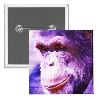 Smiling Chimpanzee 15 Cm Square Badge