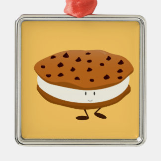 Smiling chocolate chip cookie sandwich Silver-Colored square decoration