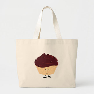 Smiling chocolate frosted cupcake tote bags