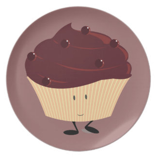 Smiling chocolate frosted cupcake party plates