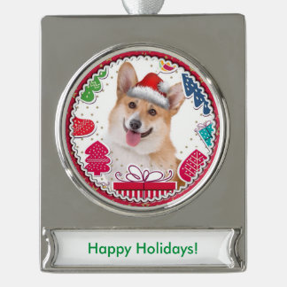 Smiling Christmas Red and White Corgi Silver Plated Banner Ornament