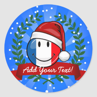 Smiling Christmas Style France Flag Round Sticker