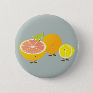 Smiling citrus group illustration 6 cm round badge