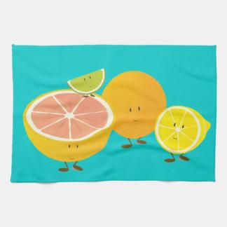 Smiling citrus group tea towel