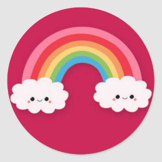 Smiling Clouds and Rainbow Sticker