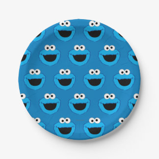 Smiling Cookie Monster Pattern 7 Inch Paper Plate
