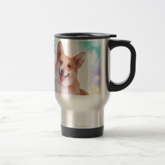 Smiling Corgi with Balloons Travel Mug