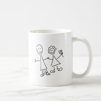 Smiling Couple of Hand in Hand Lovers Drawing Mug