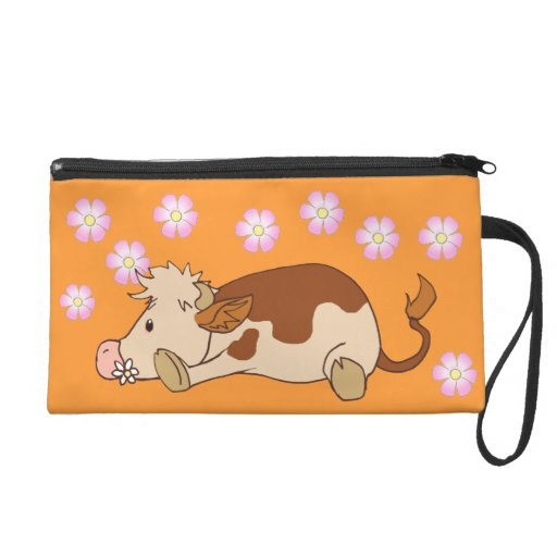 Smiling cow wristlet purses