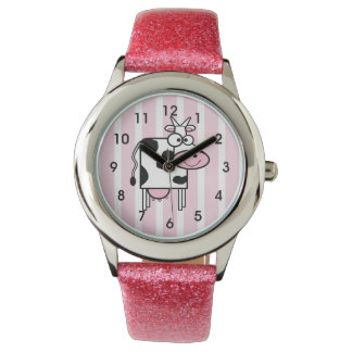 Smiling Cow Girly Animal Print Watch