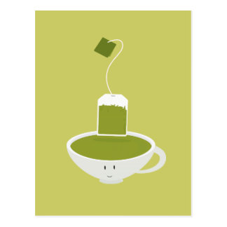 Smiling cup of green tea with tea bag postcard