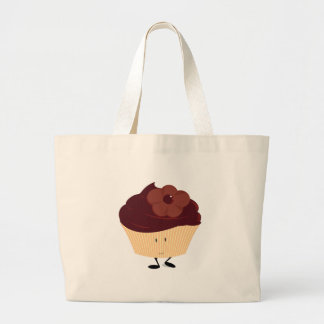 Smiling cupcake with chocolate flower frosting tote bags