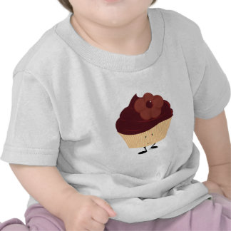 Smiling cupcake with chocolate flower frosting tee shirt