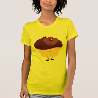 Smiling cupcake with chocolate flower frosting tshirt