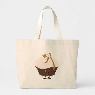 Smiling cupcake with flower and bow bag
