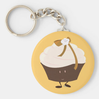 Smiling cupcake with flower and bow key chains