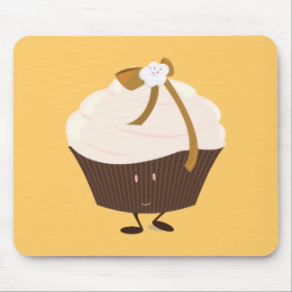 Smiling cupcake with flower and bow mouse pads