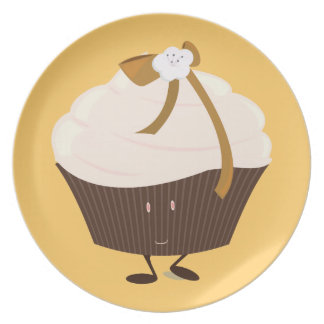 Smiling cupcake with flower and bow plate