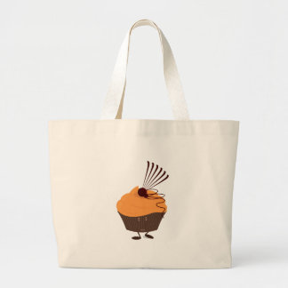 Smiling cupcake with orange frosting bags