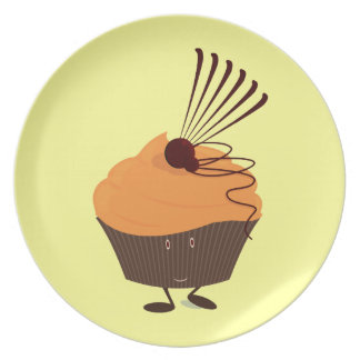 Smiling cupcake with orange frosting party plates
