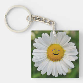 Smiling Daisy Double-Sided Square Acrylic Key Ring