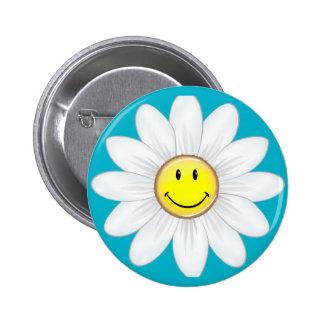 Smiling Daisy Flower 6 Cm Round Badge