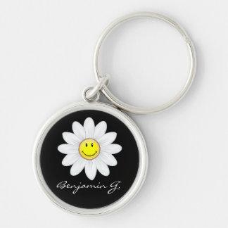 Smiling Daisy Flower Key Ring