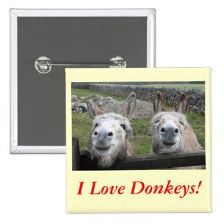 Smiling Donkeys! 15 Cm Square Badge