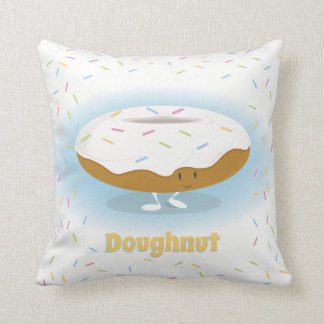 Smiling Donut with Sprinkles | Throw Pillow
