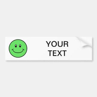 Smiling Face Bumper Sticker Green 0001