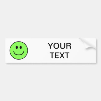 Smiling Face Bumper Sticker Green 0002