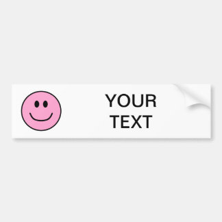 Smiling Face Bumper Sticker Pink 0002