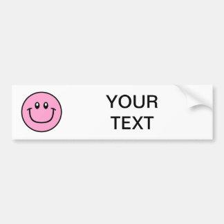 Smiling Face Bumper Sticker Pink 0003