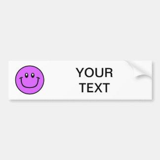 Smiling Face Bumper Sticker Purple 0003