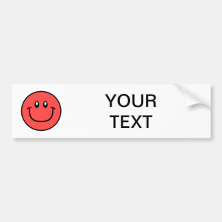 Smiling Face Bumper Sticker Red 0003